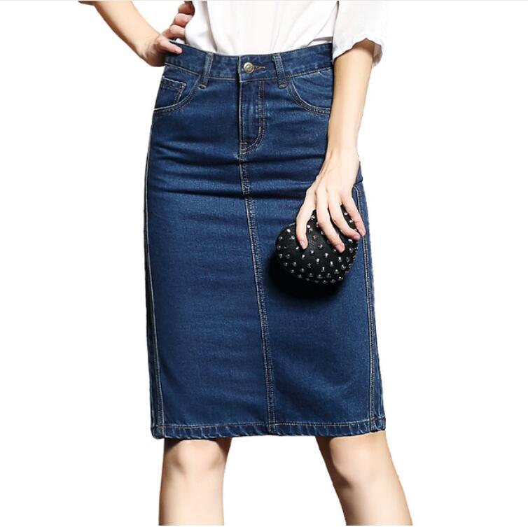 2018 Frauen Sommer Röcke Saias Plus Größe Casual Jeans Rock Damen Denim Bleistift Röcke Femininas S-4xl HöChste Bequemlichkeit