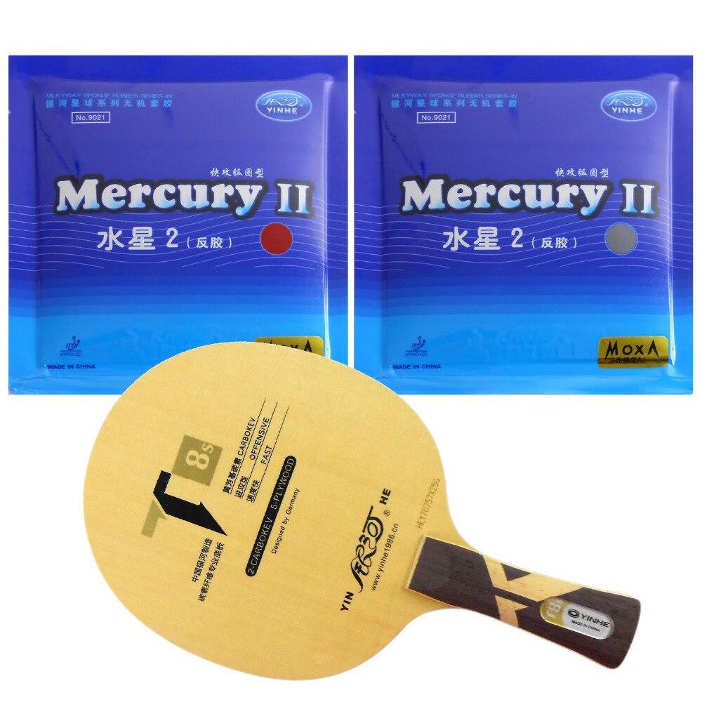 Pro Tennis De Table PingPong Combo Raquette Galaxy YINHE T8 avec 2 Pièces Mercure II Long Shakehand FL
