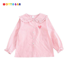 WOTTAGGA 2019 Baby Kids Girls Autumn Shirts Stripes Sweet Heart Blouses Full Striped Tee Tops Outwear Outfits Blouse Children kids striped tee