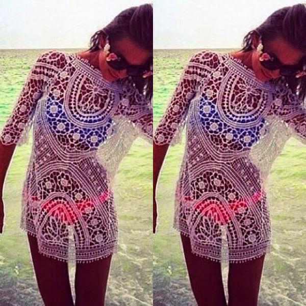 Sexy Women Bathing Suit Lace Crochet Bikini Swimwear Beach Cover Up Mini Dress Hollow Long Sleeve Blouse Sundress