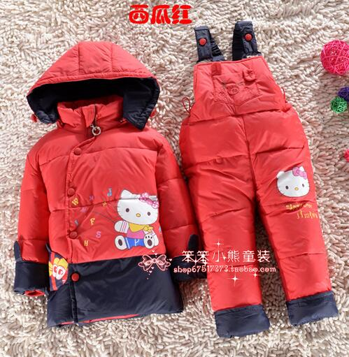 Hot sale 2017 Winter Toddler Winter Set Thicker Down Jacket + Pants Set Boy baby & Girl babys Cartoon Pattern Coat Set Clothing hot sale open front geometry pattern batwing winter loose cloak coat poncho cape for women