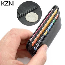 Kzni 100 genuine leather coin purses holders credit card holder leather thin bank card holder wallet.jpg 250x250