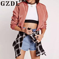 Pink Fashion Style Long Sleeve Pockets Women's Slim Jacket Baseball Casual Ladies Solid Outerwear Harajuku Coats Jackets CL3233