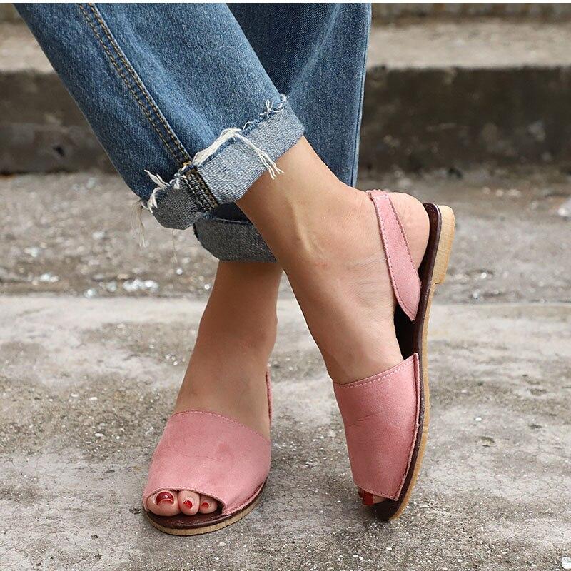 HTB1pOL4kHZnBKNjSZFhq6A.oXXaU MCCKLE Summer Sandals Women Plus Size Flats Female Casual Peep Toe Shoes Faux Suede Slip On Elastic Band Leisure Solid Footwear