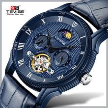 Moon Phase Tourbillon Mens  Watches TEVISE Original Automatic Watch Self-Wind Fashion Men Mechanical Wristwatch Leather