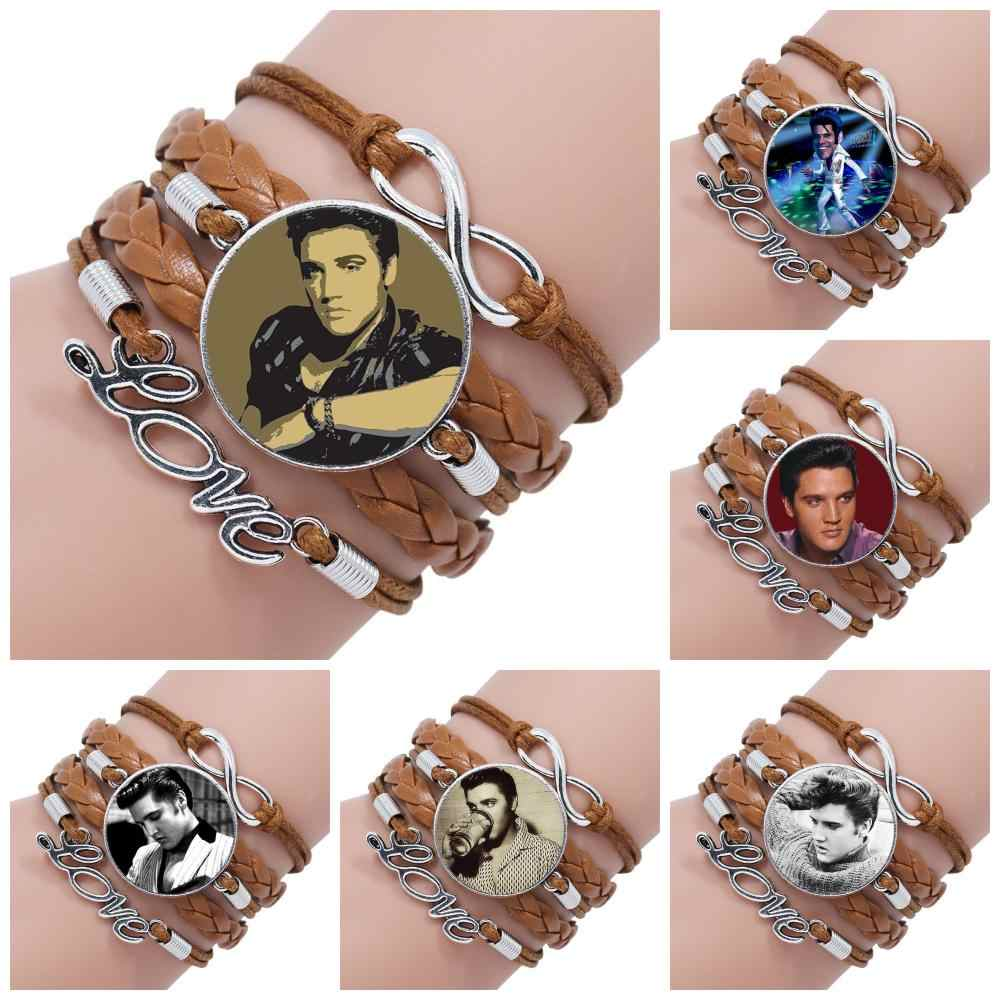 For Women Choker Rock Star Elvis Presley Glass Jewelry With Glass Cabochon Multilayer Black/Brown Leather Bracelet Bangle