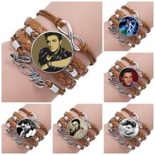 For Women Choker Rock Star Elvis Presley Glass Jewelry With Glass Cabochon Multilayer Black/Brown Leather Bracelet Bangle(China)