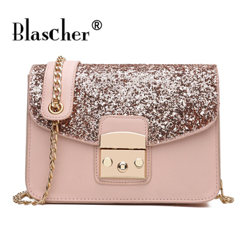 Blascher Fashion Luxury Glitter Sequined Women Messenger Bag Chain Strap Flap Female Shoulder Bags Lady PU Crossbody Bags shoulder bag