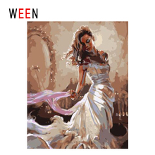 WEEN Dress Girl Diy Painting By Numbers Abstract Bella Oil On Canvas Cuadros Decoracion Acrylic Wall Art Home Decor