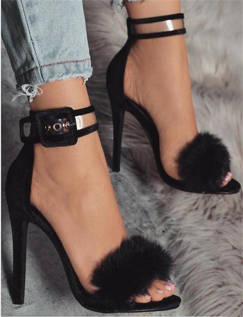 Heel Tobillo Nuevo Suede Transparente De Sandalias High Thin Correa Pieles Zapatos Moda Vestido Animales Diseño Negro Cuero wzHR16qw