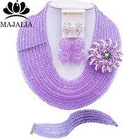 Majalia Fashion Nigeria Wedding African Beads Jewelry Set Lilac Crystal Necklace Bridal Jewelry Sets Free Shipping 10MK016