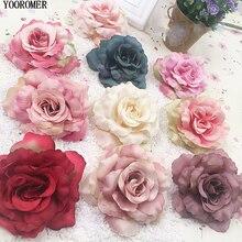 цена на YOOROMER 5pcs 8cm Silk Rose Artificial Flower Wedding Home Furnishings DIY Wreath Sheets Handicrafts Simulation Cheap Fake Flowe