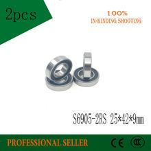 Бесплатная доставка 2 шт S6905-2RS S6905RS S61905-2RS 25*42*9 мм 440C Нержавеющая сталь глубокий шаровой подшипник S6905RS