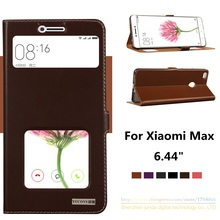 6Colors For New Phone Xiaomi Max,Top Quality Natural Genuine Leather Window Magnet Flip Stand Cover Case For Xiaomi Mi Max 6.44″