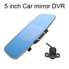 Big sale 5 inch LCD Car DVR Rearview Mirror Dual Full HD Lens Camera dual lens with rear camera auto dual lens free shipping