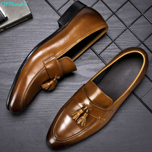 QYFCIOUFU 2019 Handmade Designer tassel Flat formal shoes Wedding Party Office Male Shoe Genuine Leather Men Oxford Dress Shoes костюм noble people noble people mp002xg00c9g