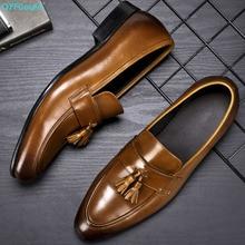 QYFCIOUFU 2019 Handmade Designer tassel Flat formal shoes Wedding Party Office Male Shoe Genuine Leather Men Oxford Dress Shoes bering часы bering 11927 262 коллекция classic