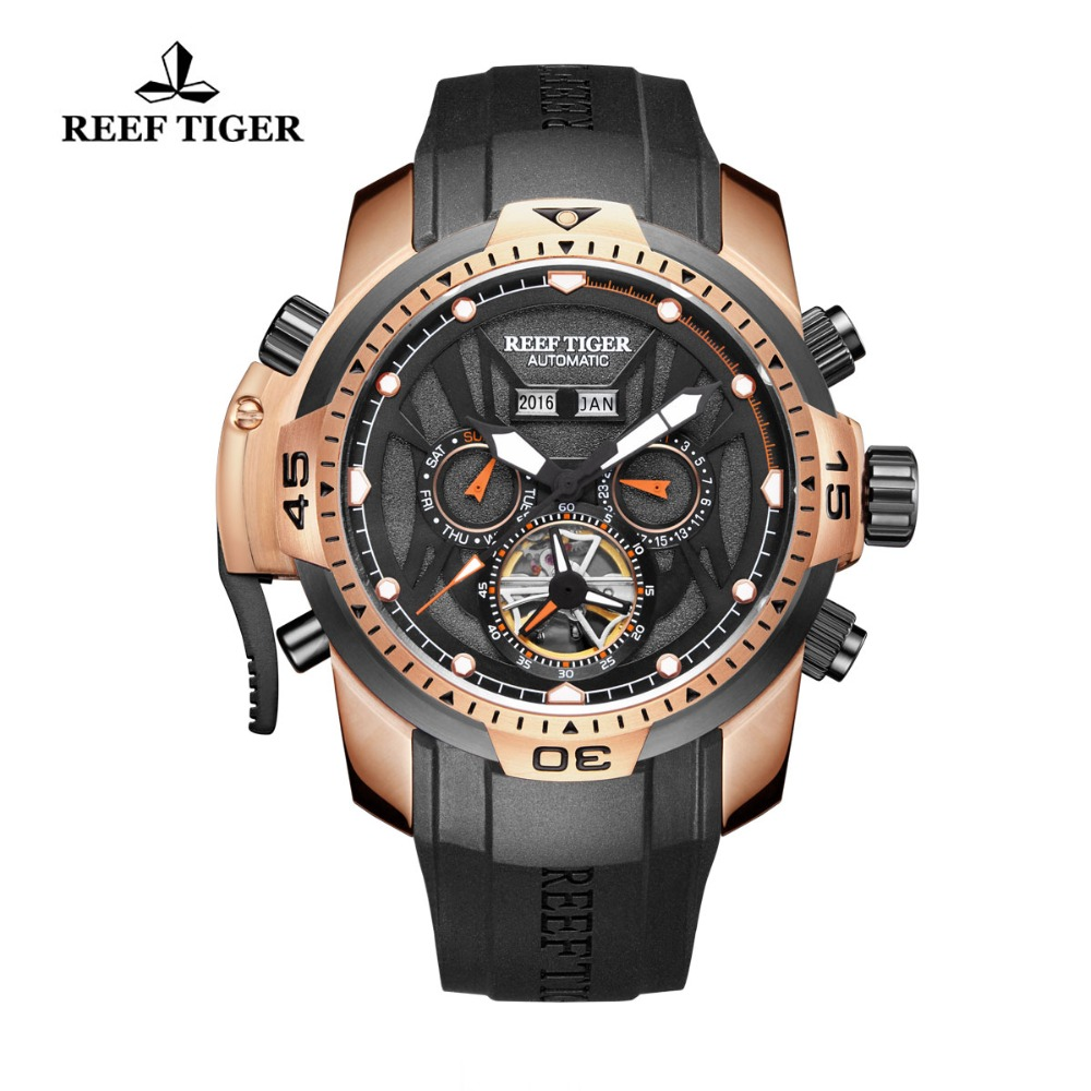 Récif Tigre/RT Sport Montre Hommes Grand Rose Or Transformateur Édition Imperméable Militaire Montres Montre-Bracelet Mécanique RGA3532