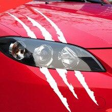 Забавная Автомобильная наклейка 40 см X 12 см, светоотражающая монстра, царапина, полосы, коготь, знаки, авто, фара, украшение, виниловая наклейка, наклейки для автомобиля
