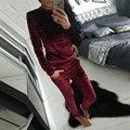 Fashion Women Clothes Set Female Velvet Long Sleeve Turtleneck Top Pullovers+Pant Ladies Clothes