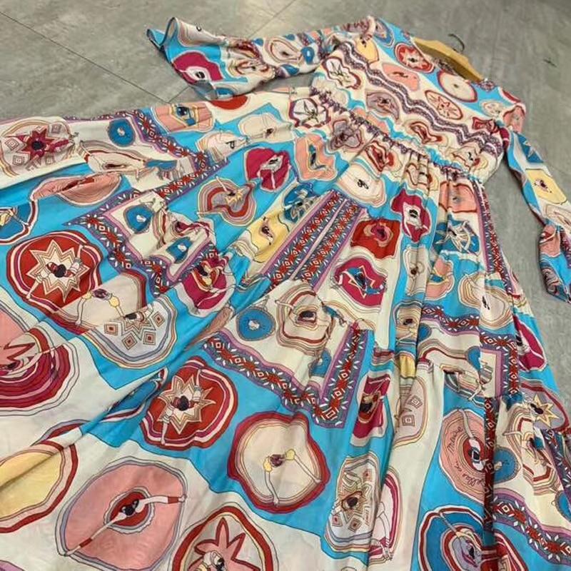 Taille Élégant Casual Robe Printemps A À Robes Longues Imprimer ligne Haute Femmes Manches 2019 w1O0qzgx