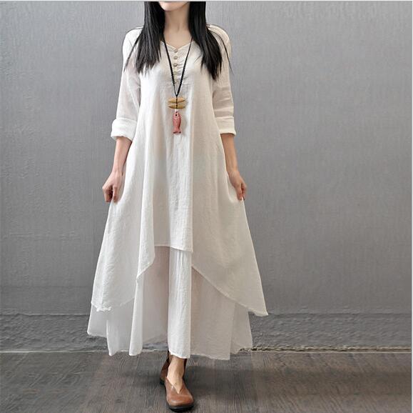 5XL Plus Size Cotton Linen Color Women Maxi Dress 2018 Spring New False Two-piece Long Sleeve Round Neck Loose Irregular Dress