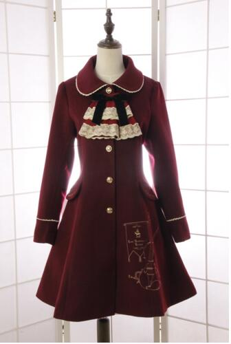 ФОТО Vintage Style Violin Embroidered Women's Winter Coat Slim Fitting Long Coat with Detachable Necktie