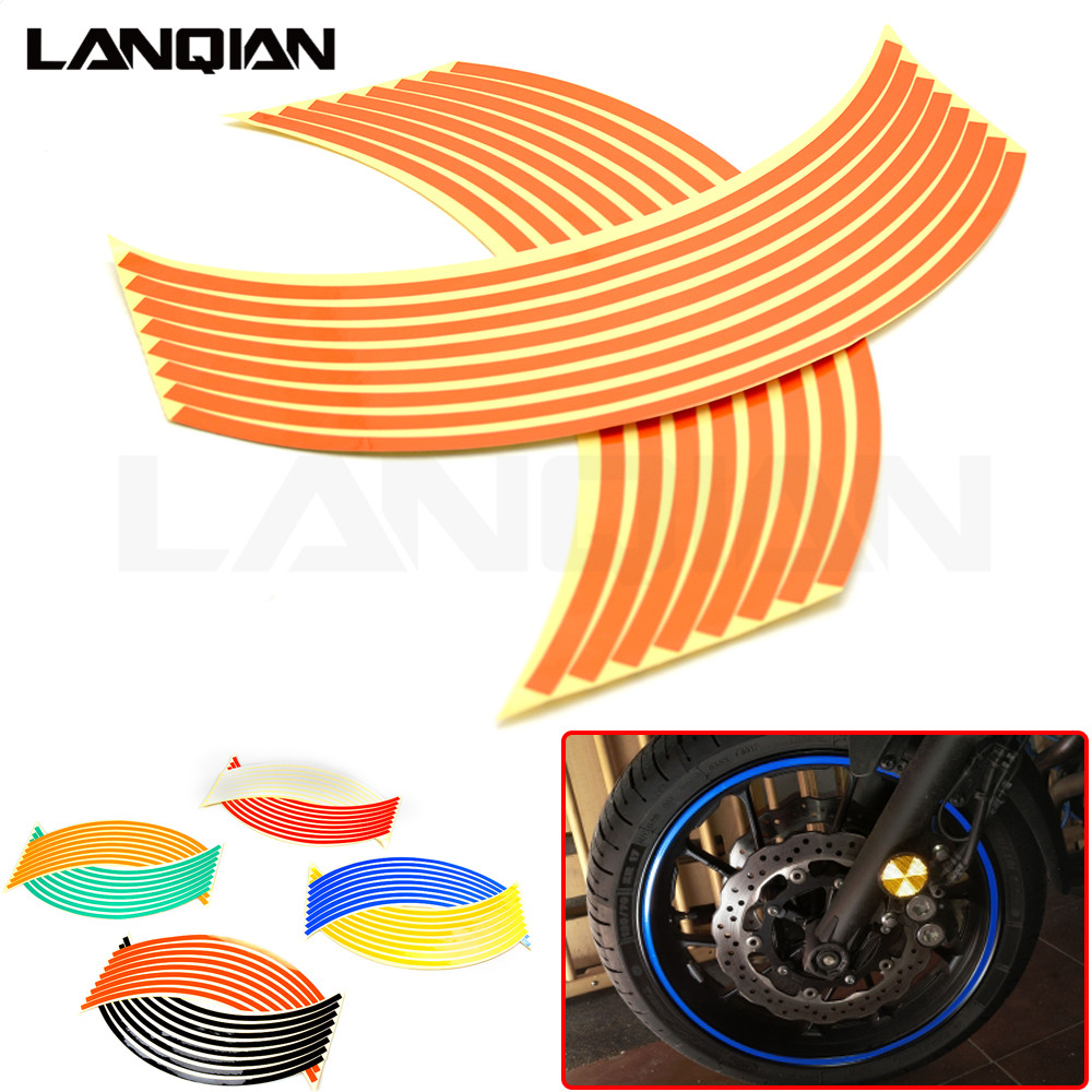 Hot Motorcycle Wheel Sticker Reflective Decals Rim Tape Car/bicycle For HYOSUNG GT250R GT650R KAWASAKI VERSYS 650 1000 Z750 Z900