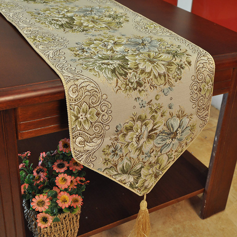 Gold Elegant Coffee Table Runners For Wedding Table Flag