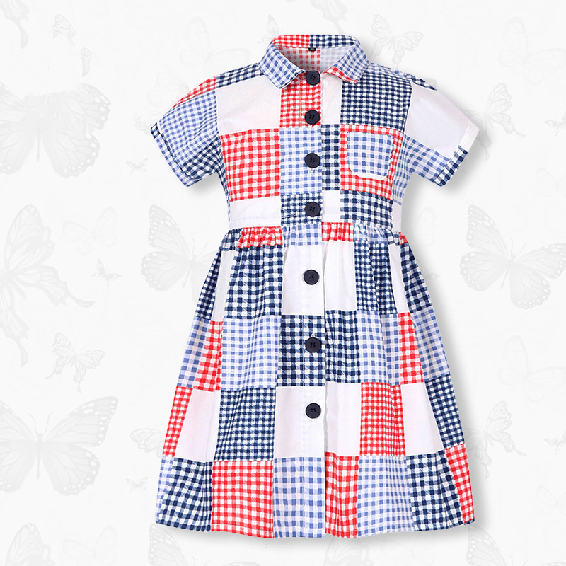 W.L.MONSOON Girls dress Summer dress 2018 New Korean version child Cotton lattice dress sleeve summer женское платье dress new brand 2015 thetest summer dress