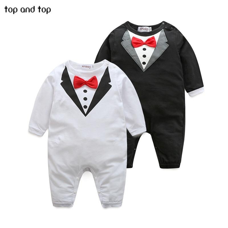 Baby Clothing Rompers Newborn Jumpsuit Infantil Babi Design Pure-Cotton Bow-Tie Boy
