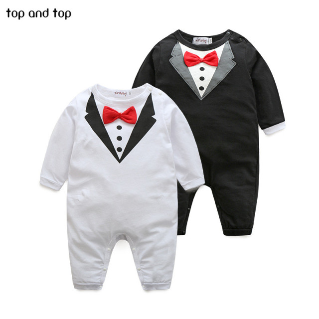 dc2ba5b1d3b6d US $6.0 21% OFF| New pure cotton Baby Clothing Bow tie design Baby Rompers  Infantil babi boy jumpsuit Newborn Babies Rompers -in Clothing Sets from ...