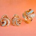 Blucome dubai chapado en oro de múltiples capas de la flor azul del esmalte conjunto de joyas bijoux francés ganchos stud pendientes juegos de anillos anillo anéis