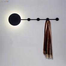 цены Nordic Wall Lights Clothing Cap Rack LED Wall Lamps Round Iron Sconces Lights Aisle Door Locker Bedroom Room Study Lamp Lighting