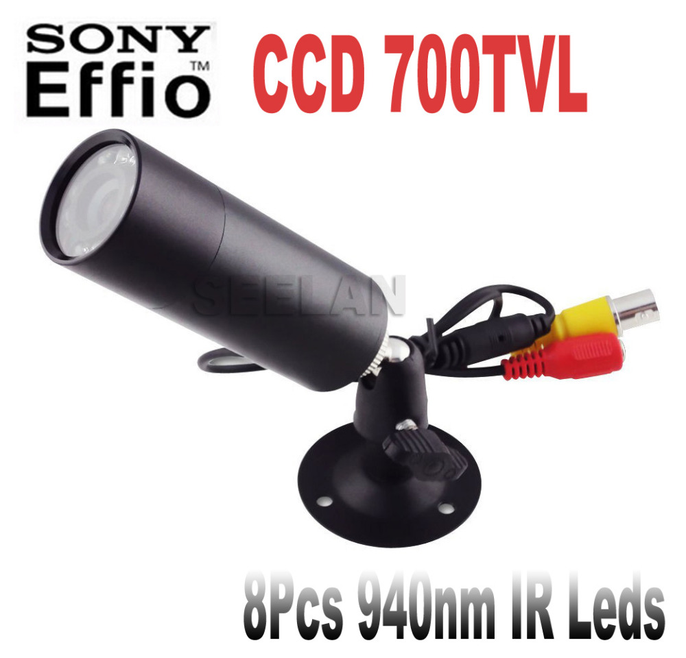 HQCAM Sony Effio-E 700TVL Mini Bullet Camera Bullet Outdoor Invisible 10pcs IR 940NM 0 lux Night Vision CCTV Camera 4140+810\811 mini cctv camera in security camera outdoor invisible 8 pcs 940nm not visible leds sony 700tvl mini bullet pen camera