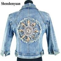 Back Bead Sun Flower Slim Denim Short Woman Patchwork Jacket