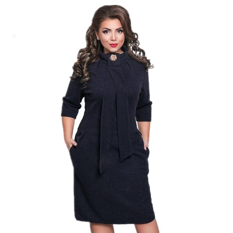 Plus Size Womens Clothing Formal Office Dress Half Sleeve Pencil Knee Length Jurken Casual Dress Stand