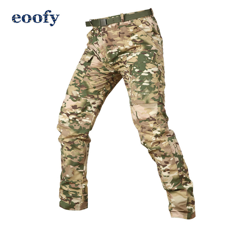 Men Camouflage Detachable Army Tactical Pants Men Removable Knee Length Military Pants Breathable Elastic Camo Army Trousers