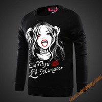 2017 New Brand Movie Suicide Squad Harley Quinn Sweatshirts Black Blue Hoodie For Young Mens