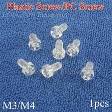 1pcs M3/M4 Transparent Acrylic Phillips Pan Head Machine Screw Insulation Screw PC Screw Cross Recessed Round Head Screws m8 black nylon phillips pan head machine screw insulation screw