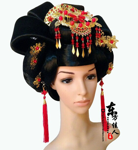 2014 New Design Tang Empress Hair Set Hair Wig or Hair Accessory or Full Set (wig + accessories) 3 Options Choose Freely