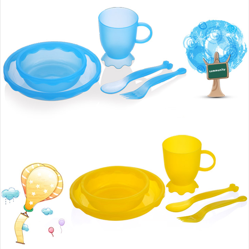New Children Tableware BPA Free Plastic Baby Food Set Kids Dinnerware Plate Bowl Cup Fork Spoon Infant Dishes For Toddlers Baby (11)