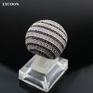 Image 2 - LYCOON ברמה הכי חדש לבן ושחור CZ פס טבעות כסף מצופה גדול טבעות יוקרה נשים מעוקב zirconia טבעת כדור צורה