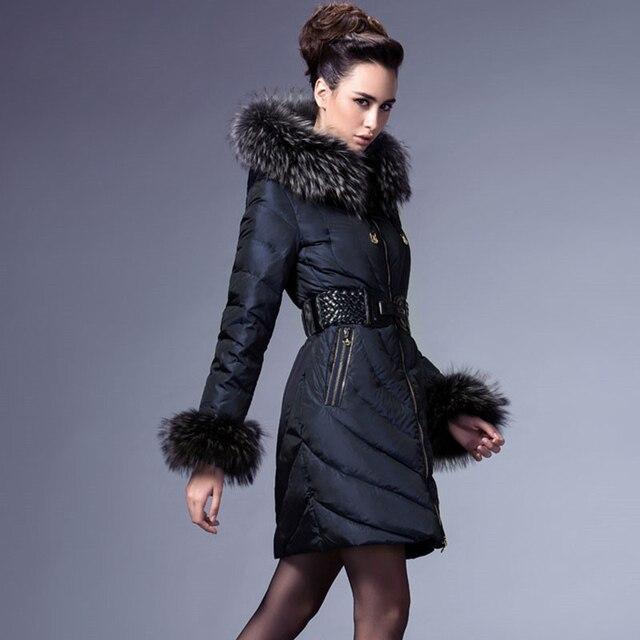 5e216cf35ebdf Luxury Winter Coats Real Raccoon Fur Designers Down with Hood 2017 Women  Long Cape Jacket Coat Ladies Duck Puffer Windbreaker