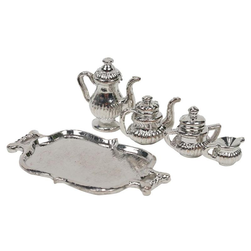 Dongzhur Dongzhur1:12 Doll House Silver Teapot Furniture Accessories Super Texture Classical Silver Teapot Doll Furniture Toy Ac
