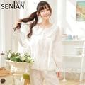 New Cotton Long Sleeve Women's Round Neck Pajama Set Free Shipping