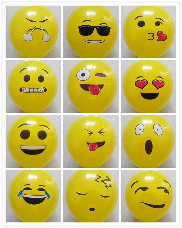 100Pcs/Lot 12inch Smiley Face Expression Yellow Latex Balloons,Emoji Balloons Party Wedding Ballon Cartoon Inflatable Balls