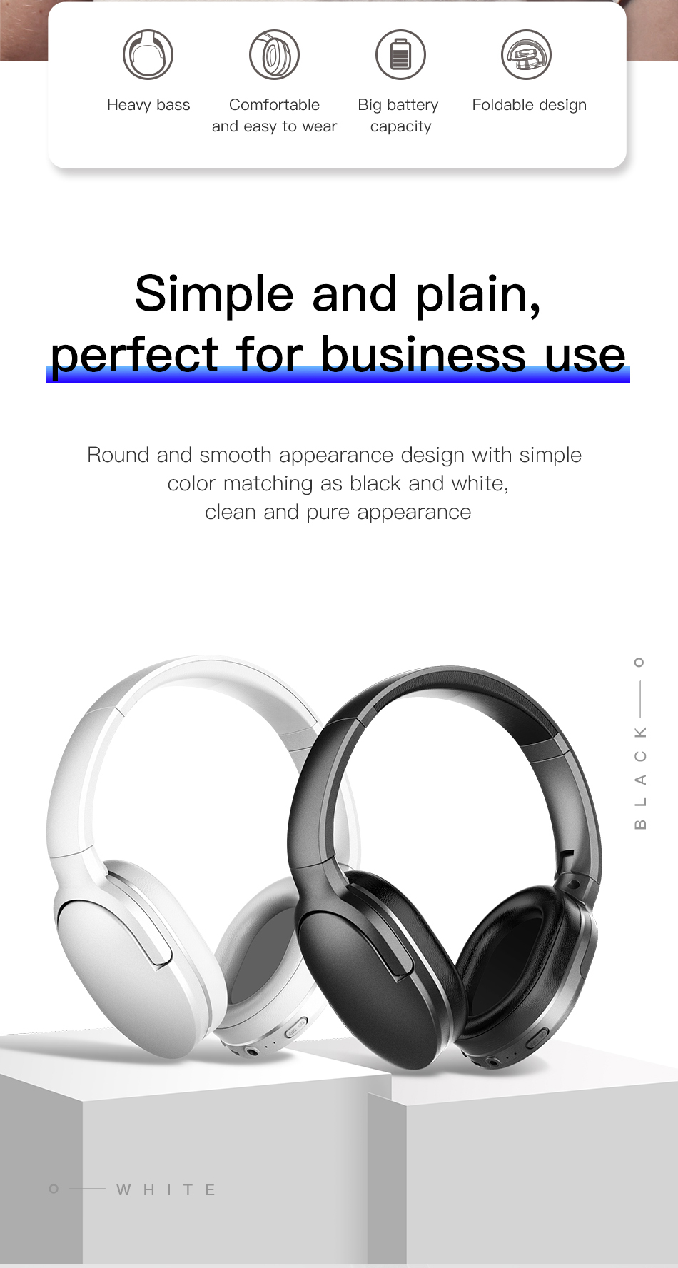 Adjustable & Foldable Bluetooth Headphone with Mic - D02 7
