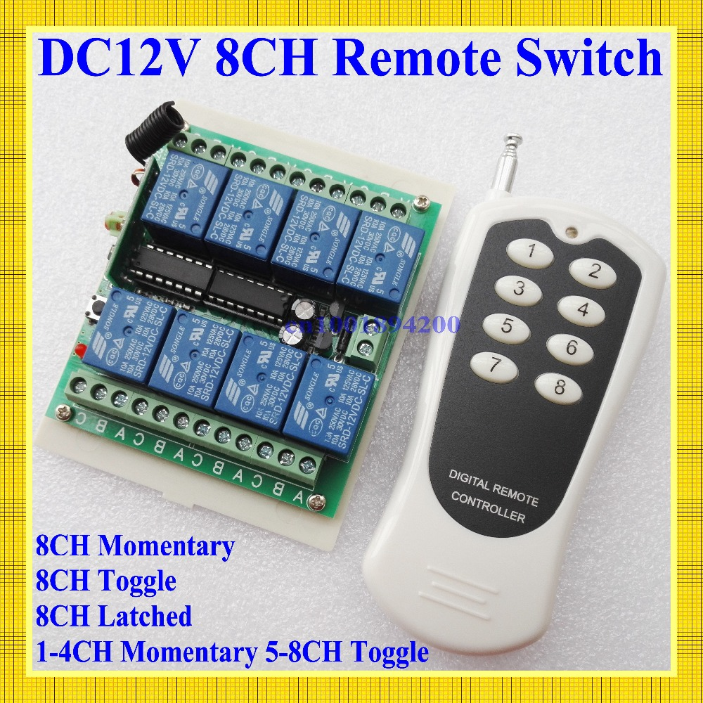 12V 8 CH channel RF Wireless Remote Control Switch & Remote Control System receiver transmitter 315/433 8CH Relay NC NO COM цена