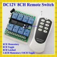 Interruptor de mando inalámbrico de radiofrecuencia de 12V 8 canales receptor y transmisor de sistema de Control remoto 315/433 relé de 8 canales NC NO COM